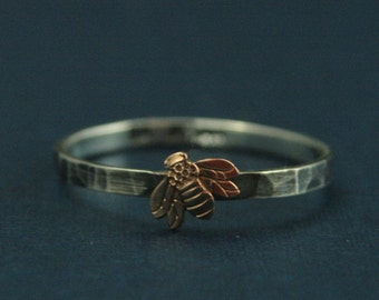 14K Rose Gold Bee Ring--Queen Bee Ring--Honey Bee Mine--Silver Wedding Band--Entomology Ring--Botany Ring--Bee Keeper Ring--Apiology Ring