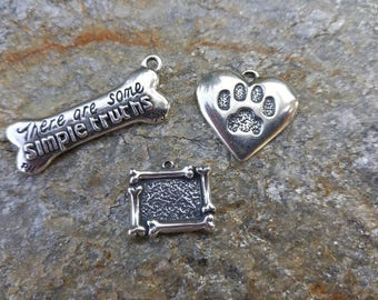 DISCONTINUED ***   Pet Charms Pet Paw Dog Bone Frame Simple Truths Bone Sterling Silver