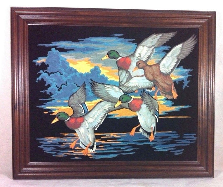 Oil Painting on Velvet Ducks Mallards Framed 24 x 20 Vintage