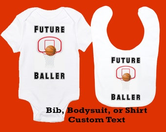 Future baller etsy basketball baby bodysuit bib toddler shirt personalized sports design future baller negle Choice Image