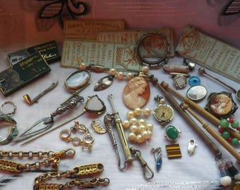 Job Lot Collection of Vintage Antique  Bits and Bobs Destash Spares Repair
