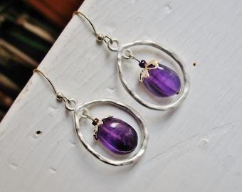 Amethyst silver hoop earrings