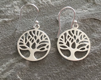 Sterling Silver Circle Tree of Life Dangle Earrings Jewellery Gift Silver Jewelry 925 Silver Round Tree of Life Earrings Gift for Her