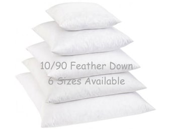 90/10 Feather Down Pillow Insert 100% Cotton Cover 16x16 18x18 20x20 22x22 24x24, Pillow Cover Down Insert