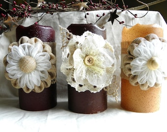 LED Candle 6 Inch Primitive Textured TIMER PILLAR Candles, Battery Operated, Great Night Light, Window Candles