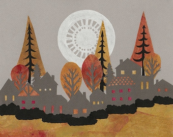 Autumn's Colorful Shroud - 8 X 10 inch Cut Paper Art Print