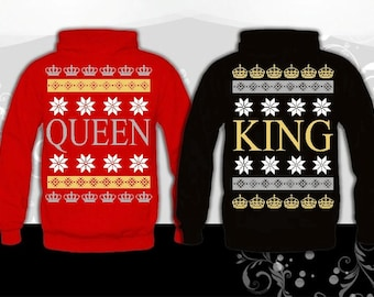 2 Couple matching Hoodies (king and queen) sweatshirts, King & Queen Ugly Christmas Hoodies