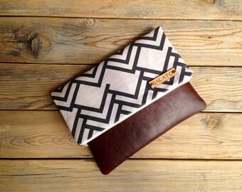 Modern Print clutch, leather clutch, leather fold over clutch, triangle clutch, chevron clutch,