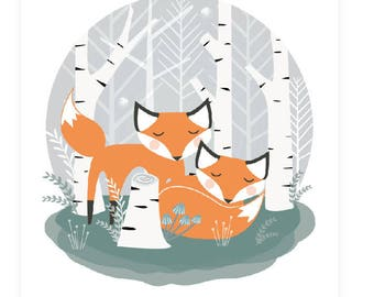 Foxes and birch instant download, woodland fox poster, woodland animals, home decor wall print, cute fox art forest vixen orange and tea