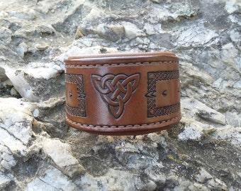 Celtic leather bracelet