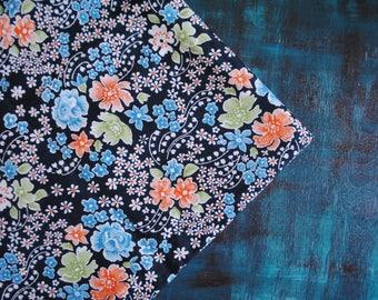 Vintage cotton fabric Estonian Soviet black blue orange green white floral chintz 3.3 yards in 1 listing