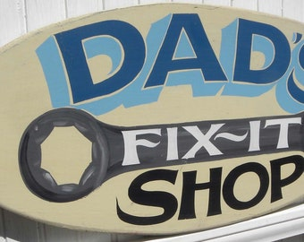 Handmade and lettered Dad's Fix it Shop Oval Wood Sign. Wrench art Fix it.  Great Father's Day or Birthday gift for Dad. Man Cave decor