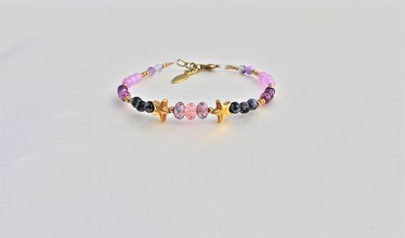 bracelet pierres fines : obsidienne, jade kiwi, jade lavande, fluorite et swarovski