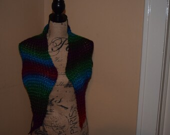 Triangle Shawl Loom Knit Handmade Neck Wrap Scarf Shoulder Wrap Colorful