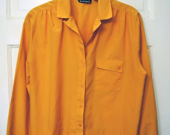 Vintage 1980s Mustard Yellow Button Up Shirt with Asymmetrical Pocket