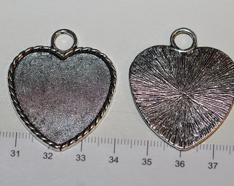 6 pcs a pack 40x34mm Medium Heart Filler Charm Antique Silver Finish Lead Free Pewter