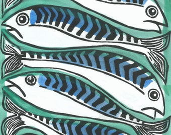 Mackerel linocut hand printed card
