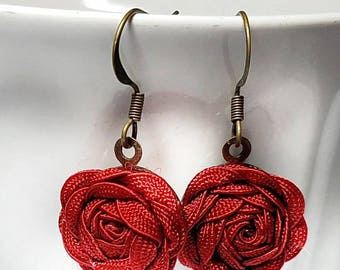 Red Earrings, Rose Earrings, Red Flower Earrings, Red Dangle Earrings, Deep Red Earrings, Flower Earrings, Mother's Day