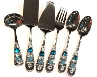 Hostess Serving Pieces Beaded & Wire Wrapped, Serving Set, Spoon, Spatula, Meat Fork, Pie Server, Ladle, Slotted Spoon, Wire Wrapped Utensil