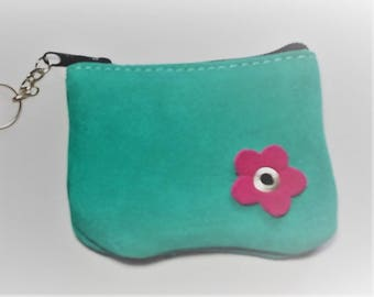 Beautiful small suede coin purse
