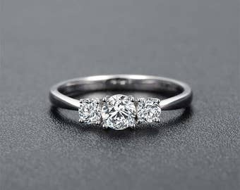 Round Cut Moissanite Engagement Ring 14k White Gold Forever One Moissanite Ring Diamond Engagement Ring Three Stones Charles & Colvard