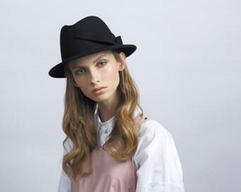Black Unique Fedora Hat , Felt Hat with Felt Decoration , Women  Fedora Hat , Winter Hat  , Millinery Hand Crafted Hat , Womens Fedora Hat