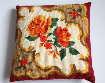 Vintage Floral Rose Baroque Handmade Yellow/Orange/Red Needlepoint Embroidered Pillow ~ filled with batting - velour backing