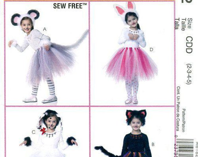 FREE US SHIP Sew Free Childs Toddler Costume McCall's 6182 370 Animal Tutu Dance Ears Halloween Pretend Play Sewing Pattern Size 2/5, 7/8