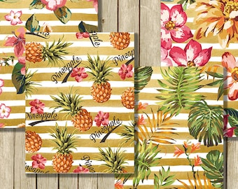 Tropical digital paper pack instant download modern pineapple tropical flowers printable 8.5 x 11 for scrapbooks journals and craft