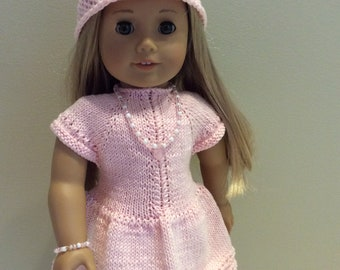 18 Inch Doll Dress -  Pink perfection handknit dress/hat for your American Girl doll