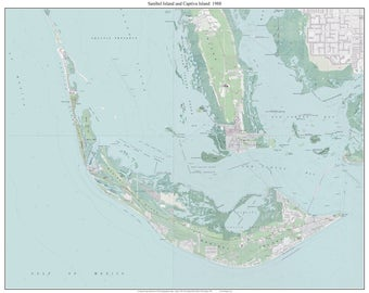 Sanibel Island & Captiva Island, Florida 1988 Old Topo Map - A Composite made from 4 USGS Topographical Maps -  Custom Reprint