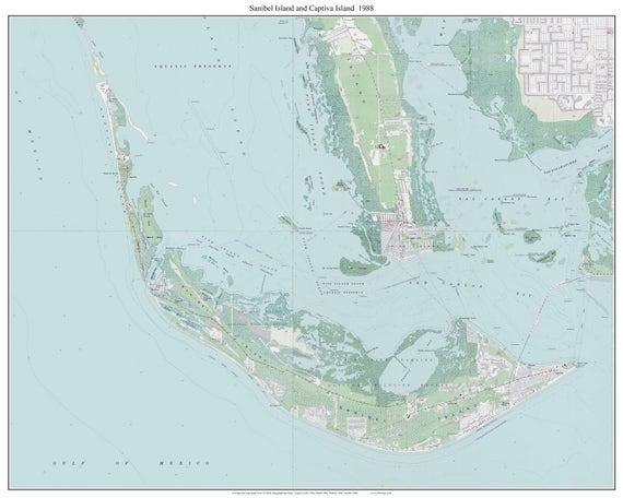 Sanibel Island Captiva Island Florida 1988 Old Topo Map A
