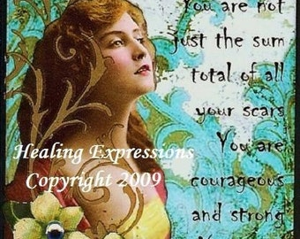 SURVIVOR altered art therapy abuse trauma cancer recovery collage greeting card ATC ACEO Print