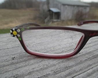 Reading glasses hand painted, daisy readers, flower readers, floral eyewear, spring readers, 2.0, daisy cheaters, daisy eyewear