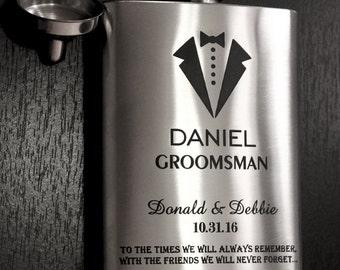 Personalized Flask, Custom Flask, Groomsman Flask, Flask, Wedding Flask, Bridesmaid Flask, Graduation Flask, Engraved Flask, Stainless Steel