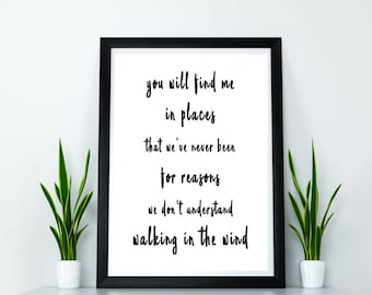 One Direction - Walking in the Wind - 1D Print, 1D Prints, Harry Styles, Liam Payne, Louis Tomlinson, Niall Horan, Romantic Gift, Cute Gift
