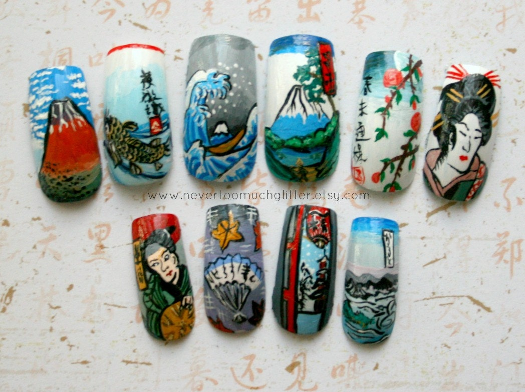 Handpainted Nail Art Custom Japanese Ukiyoe Woodblock Print