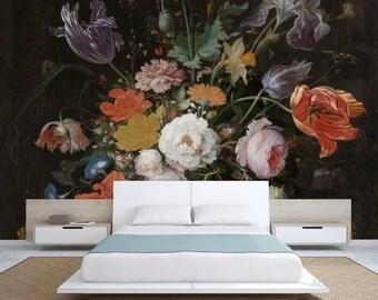 oil painting floral vintage, vintage painting floral, vintage flower, dark painting floral, vintage floral wallpaper, painting flower mural