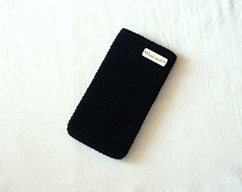 Black cotton crochet phone cover, Smart phone case ,Crochet phone bag cover