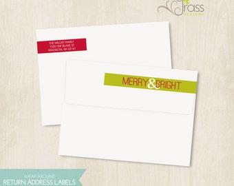 DIY printable christmas / holiday wrap around return address labels - merry & bright