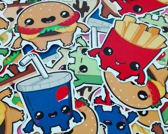 KAWAII FOOD STICKERS / Hand Cut Stickers / Kawaii Stickers
