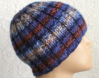 Blue brown striped beanie hat, winter hat, striped hat, ribbed beanie hat, knit hat, toque, mens womens hat, chemo cap, ski snowboard hiking