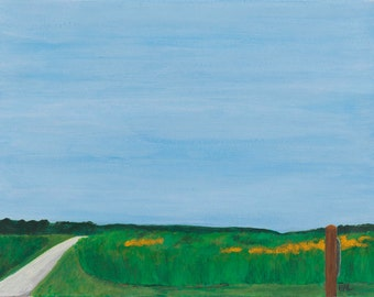 Road Ahead - framed fine art landscape painting, 14 x 18 inch, American landscape of a field in Indiana