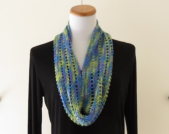 Blue-Green Silk Crochet Cowl