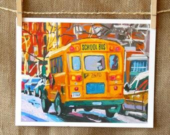 School Bus New York Transportation Art NYC Art Wall Decor Yellow School Bus Fine Art Print 8x10 11x14 12x16 inches Painting by Gwen Meyerson