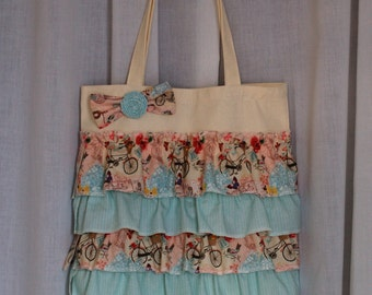 Flowers & Bicycles Tote Bag / Handmade Tote / Shabby Chic / Pink and Blue / Wedding / Christmas / Gift