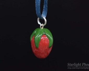 Strawberry, Strawberry Keychain, Strawberry Charm, Strawberry Gift, Bracelet Charm, Miniature Food, Polymer Clay, Food Jewelry, Clay Food