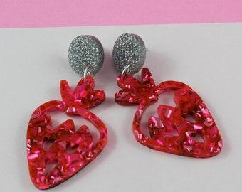Strawberry Love Dangle Acrylic Earrings