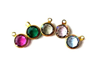 5 Dangling beads vintage Swarovski Austrian crystal in brass channel 5 colors