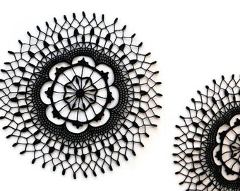 Crochet black lace doily, round table topper, black centerpiece 9 inches doily, Halloween home decor, Gothic crochet doily